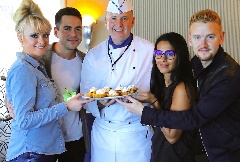 Coronation Street cast members Katie McGlynn (aka Sinead Tinker), Bruno Langley (Todd Grimshaw), Sair Khan (Alya Nazir) and Mikey North (Gary Windass) got the Club Class treatment from Irish Ferries chef Ronnie Crosbie when they visited the cruise ferry Ulysses recently to give their support to the popular 'Soaps Tour' being organised by the ferry company in partnership with Maynooth-based Celtic Horizon Tours.