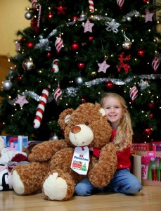 Little Cerys O'Neill (4), gets ready to donate a toy to the Cash for Kids festive 'Mission Christmas' toy campaign at the Stena Line Victoria Terminal 4 drop off point in Belfast. The leading ferry company has teamed up with the Cool FM campaign this year to help ensure that disadvantaged local children can enjoy a special Christmas.  Those who would like to get involved can drop an unwrapped, new gift off at Victoria Terminal 4 or for more information go to www.coolfm.co.uk/mission/