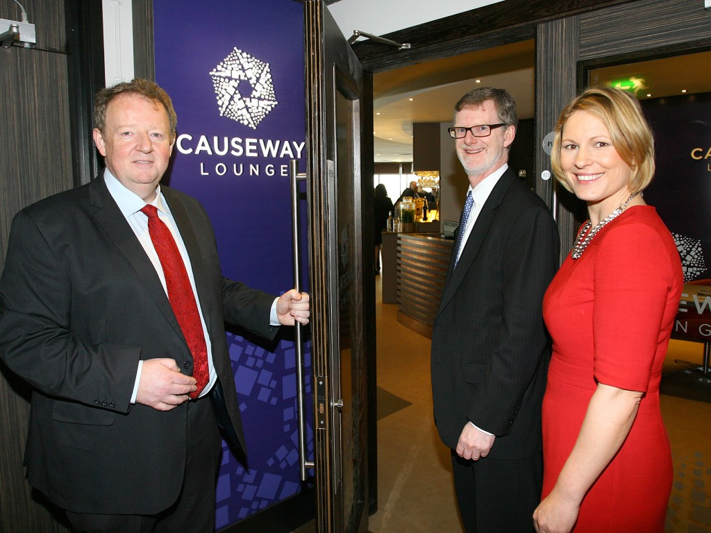 Airport Managing Director Graham Keddie welcomes US Consul General Dan Lawton to the new Causeway Lounge accompanied by Airport Commercial services Manager Deirdre Graffin.