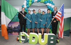 Aer Lingus Cabin Crew at the gate reception to celebrate Aer Lingus' inaugural flight to Hartford Connecticut which took to the skies this week from Dublin airport.